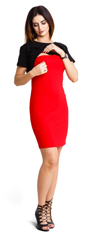 bf09d989b484 Tehotenské šaty Basic red - Happymum